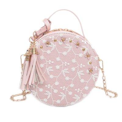 Leather Crossbody Shoulder Bags Misonz PU Pink Bag Lace Fresh Round Flower Women Handbags Chain xnISHq