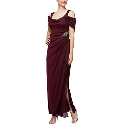 (Alex Evenings Women's Long Cold Shoulder Dress (Petite and Regular Sizes), Embellished Wine, 18 )
