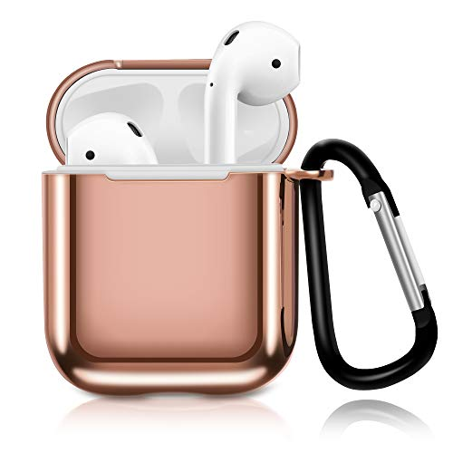HAYUL Airpods Case, 2019 Newest TPU Shockproof Protective Silicone Airpods Case Cover with Portable Carabiner for Apple Airpods 1st / 2nd Charging Case(Not for Wireless Charging Case) (Rose Gold)
