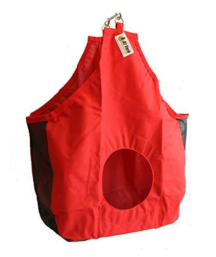 AJ Tack Wholesale Horse Hay Bag Tote Mesh Gussets Bottom 600D Canvas Nylon Metal Snap Red