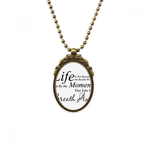 DIYthinker Life Moments Breath Quote Antique Brass Necklace Vintage Pendant Jewelry Deluxe Gift