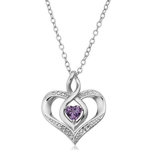 (Kooljewelry Sterling Silver with Diamond Accent February Birthstone Heart Pendant Necklace (18 inch))