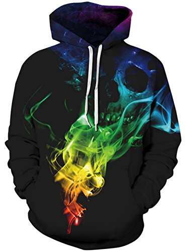 Uideazone Men Women Printed Skull Smoke Pullover Hoodie Sweatshirt Cool Coat ()