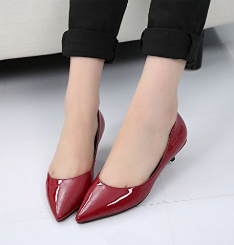 Classique CAMSSOO wine patent femme red leather HCqdKxqBwY