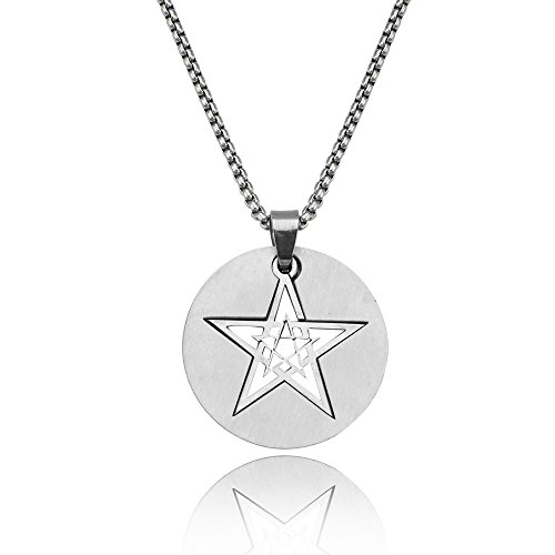 SJ SHI JUN Stainless Stell Men Double Five Point Star Pendant Necklace 24 Inches Chain