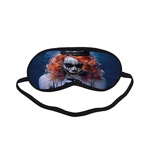 Queen Fashion Black Printed Sleep Mask,Queen of Death Scary Body Art Halloween Evil Face Bizarre Make Up Zombie for Bedroom,7.1