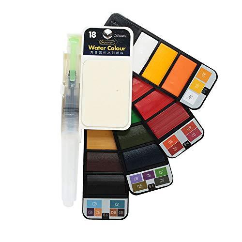 Rosepoem 18/42 colores Sólido Pigmento de acuarela Mini viaje Acuarela Kit de pintura Acuarela Paleta Sólido Pigmento - #...