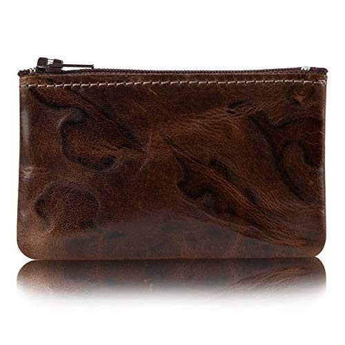 Zippered Coin Pouch, Change holder For Men/Woman made with Genuine Leather, Coin Purse, Pouch Size 4x2.5 inches, Made IN USA (Venetian Leather)