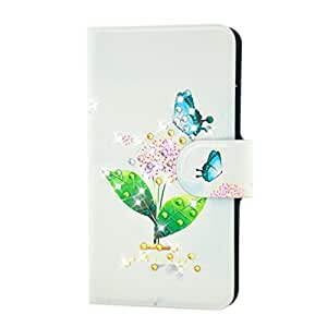 Generic Rhinestone Blue Butterfly And Pink Flower Design Card Slot Magnetic PU Leather Flip Case Cover Compatible For LG Optimus G E973 E975 F180L
