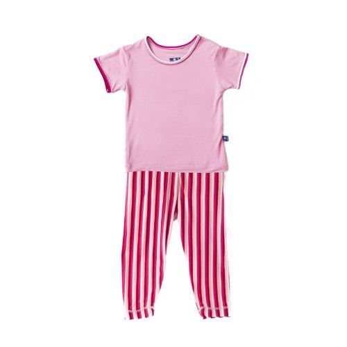 Kickee Pants S/S Candy Stripe Girl Pajama Set (3 Toddler)