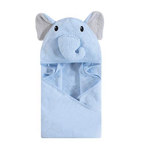 (Hudson Baby Unisex Baby Animal Face Hooded Towel, Blue Elephant 1-Pack, One Size)