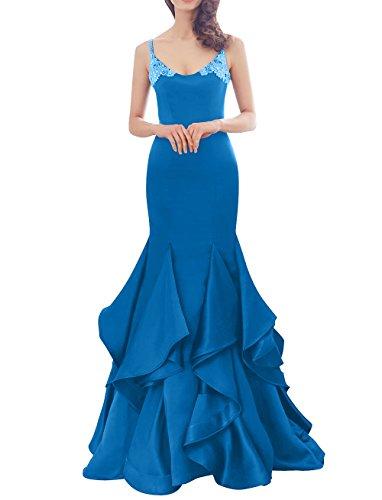 Blau Brau Dunkel Satin Abendkleider Meerjungfrau Langes Ballkleider Etuikleider La Ausschnitt mia Trumpet Partykleider V OW4q5