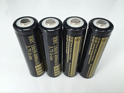 ON THE WAY®4X4000mAh18650 Battery Black Gold Color Rechargeable Batteries 3.7V Li-ion with PCB for LED Flashlight Torch