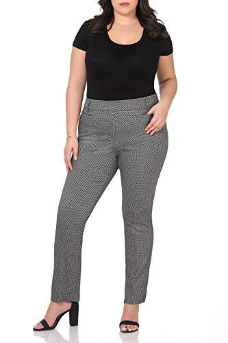 Rekucci Curvy Woman Ease into Comfort Plus Size Straight Pant w/Tummy Control (22W,Black White Bubble)