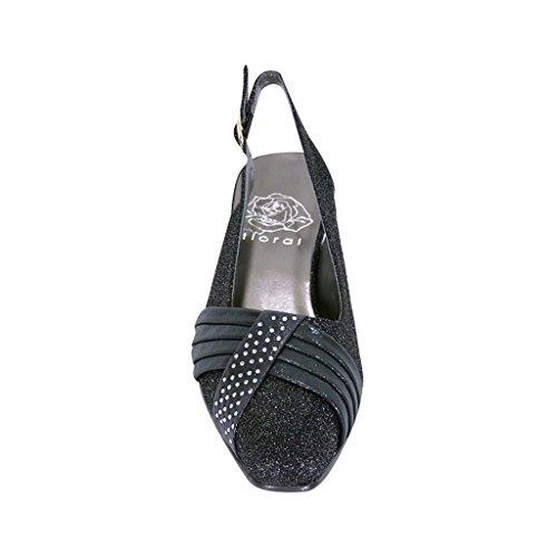 Bloemen Fic Layla Vrouwen Brede Breedte Glittery Slingback Met Geplooide Kristallen Aan De Voorzijde (maat / Maat) Zwart