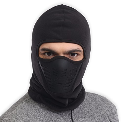 Balaclava Fleece Hood & Ski Mask with Air Mask - Heavyweight Cold Weather Winter Motorcycle, Ski & Snowboard Gear - Ultimate Protection from the Elements (Full Thermal Mask Face)