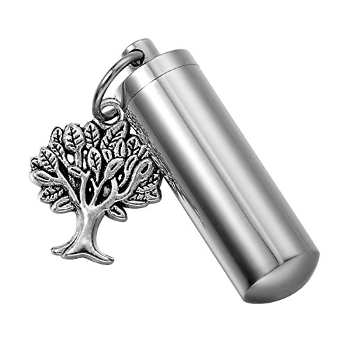 - HooAMI Tree of Life Cylinder Cremation Urn Necklace/Keychain Keepsake Ashes Pendant Memorial Jewelry