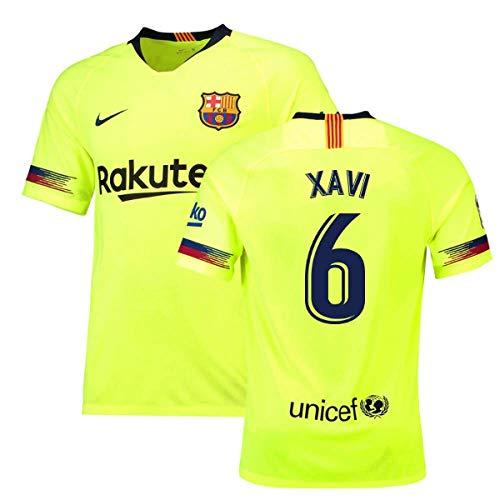 6b879e941b3 2018-19 Barcelona Away Football Soccer T-Shirt Jersey (Xavi 6)