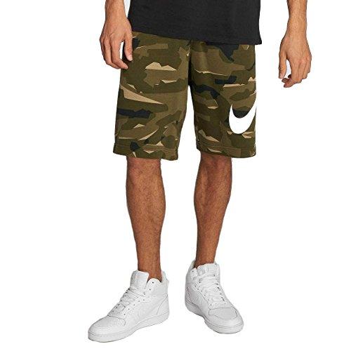 (Nike Mens Club Camo Sweat Shorts Cargo Khaki/White AQ0602-325 Size Medium)