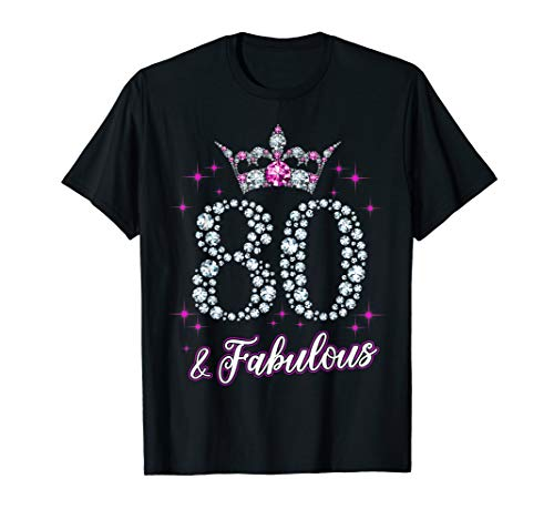 - Womens 80 And Fabulous 1939 80Th Birthday Gift T-Shirt