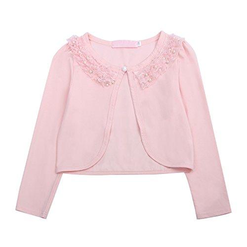 Acecharming girls Beaded Flower Bolero Jacket Shrug Short Cardigan Dress Cover Up,Pink,9-10 (Pink Sweater Girls Cardigan)