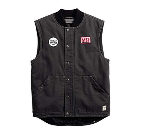 Harley-Davidson Official Men's Quilted Slim Fit Workwear Vest, Black (XXX-Large)