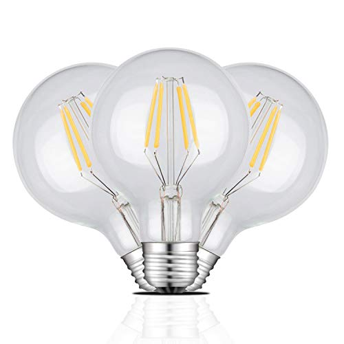 LED Candelabra Filament Bulbs 4W Non-Dimmable 40W Equivalent, 2700K Warm White G80 Globe Shape E26 Base Vintage Edison Light Bulb, Pack of 3
