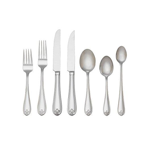 Reed & Barton 1473997000 107-Piece Ribbon Crest 18/10 Flatware - Butter Master Knife Sugar Spoon