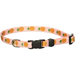 "Yellow Dog Design Pineapples Pink Dog Collar, X-Small-3/8"" wide and fits neck sizes 8 to 12"""