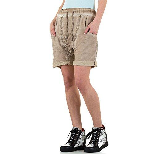 Boyfriend Shorts Für Damen , Beige In Gr. M bei Ital-Design