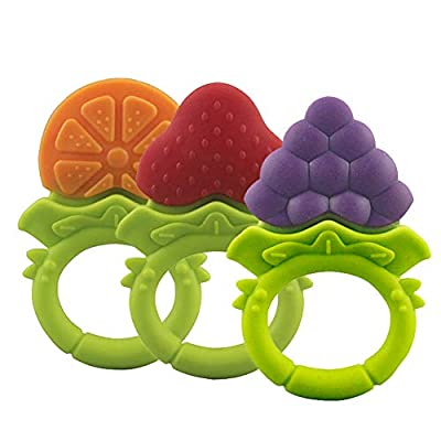 preliked Silicone Fruit Grape Strawberry Orange Shape Baby Teether Teething Chew Ring Toy : Baby