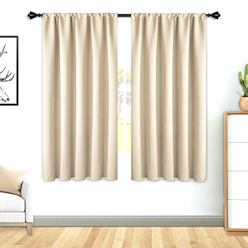 FLOWEROOM Blackout Curtains for Bedroom - Thermal Insulated, Energy Saving and Noise Reducing Rod Pocket Window Curtain Panels for Living Room, Beige, 42 x 45 inch, 2 Panels