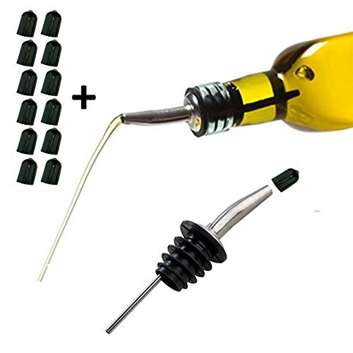 Axe-Sickle-2-Pack-6-Pack-12-Pack-Stainless-Steel-Bottle-Pourer-Spout-Cork-Stopper-Dispenser-Olive-Oil-Liquor-Liquor-Bottle-Speed-Pourers-Flow-Wine-Beer-Bartend-Tool-with-Dust-Cap-2-per-pack