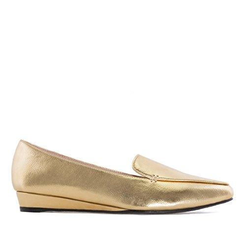 Andres Machado.AM5227.Slippers compensés en Soft.Pour femmes. Grandes pointures. 42/45 Or