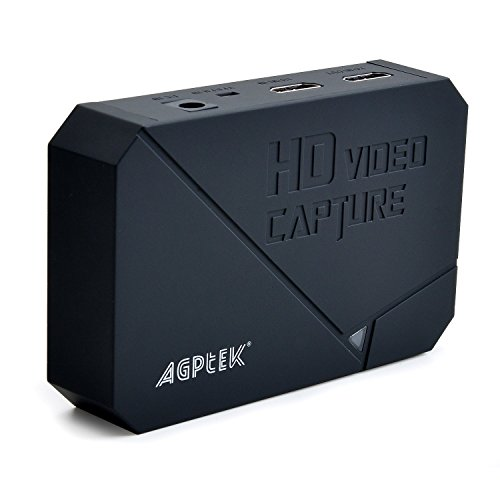 AGPtEK HD Game Capture video capture 1080P HDMI/YPBPR Recorder Xbox 360&One/ PS3 PS4,Support Mic in with both HDMI and YpbPr Input (Cd Recorder Microphone Input)