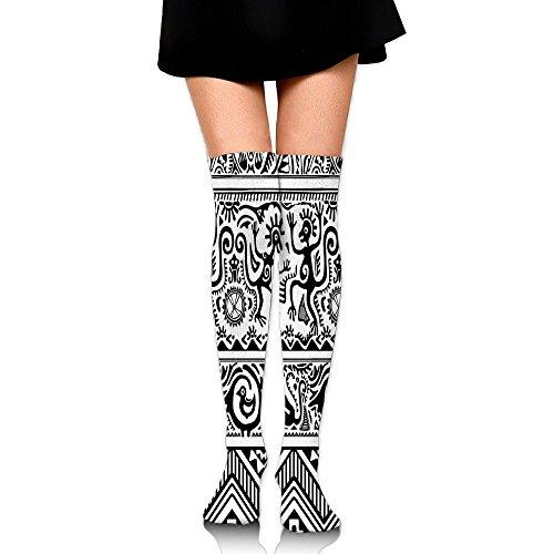 Hizhogqul Monkeys Birds Primitive Animal Motifs With Tribal Ornaments African Petroglyph Women's Fashion Over The Knee High Socks (60cm)
