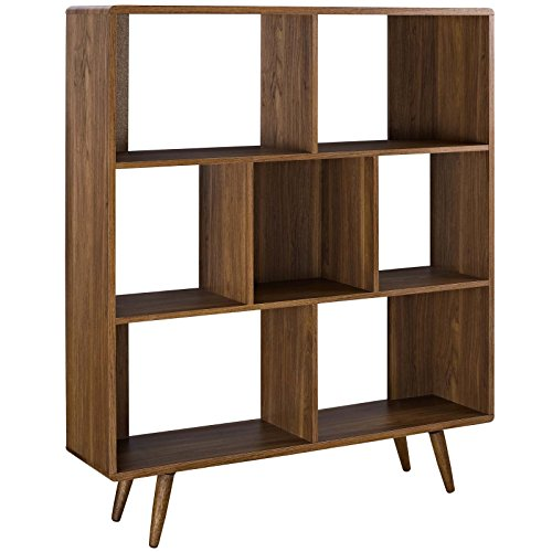 America Luxury - Storage Modern Contemporary Urban Design Living Room Lounge Club Lobby Bookcase Shelf Rack, Wood, Brown