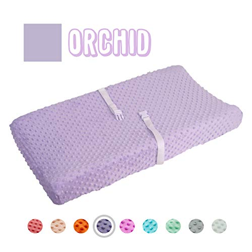 Queness Baby Changing Pad Cover, Ultra Soft Minky Dot Changing Table Pad Cover for Diaper Changing Pad, Change Table Sheets, Ideal Shower Gift for Newborn Girls and Boys (Orchid)