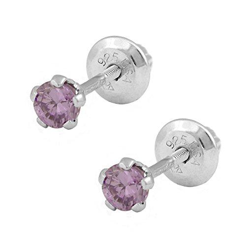Silver June Birthstone Ring - Children Silver Simulated June Birthstone Rhodolite Screw Back Earrings For Girls