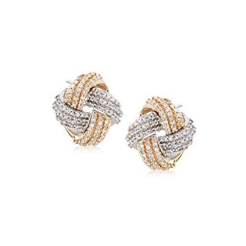 Ross-Simons 0.35 ct. t.w. Diamond Love Knot Earrings in 14kt Two-Tone Gold