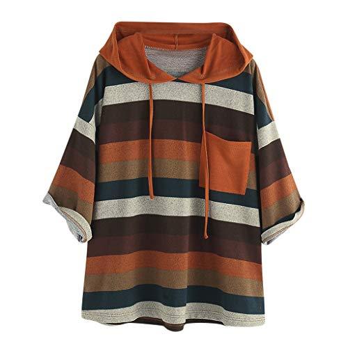 Women O-Neck Sweatshirt Long Sleeve Pocket Tops Loose Blouse Hooded Orange