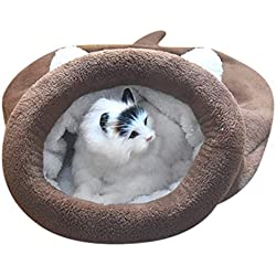 DZT1968 Kitten Cat Bed Pet Puppy Warm Cave Soft Dog House Sleeping Bag Mat Fleece Pad-Doghouse (Brown, L)