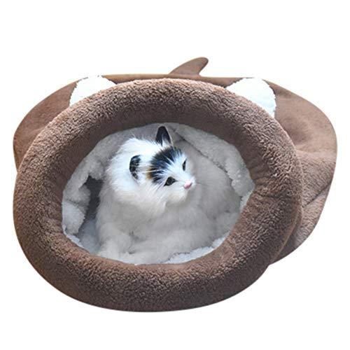 DZT1968  Kitten Cat Bed Pet Puppy Warm Cave Soft Dog House Sleeping Bag Mat Fleece Pad-Doghouse (Brown, M)