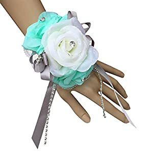 Wrist Corsage – Aqua Green Ivory Silk Roses-ready to Use