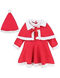 A&J Design Baby Girls' Toddler Christmas Outfit Dress with Shawl and Hat