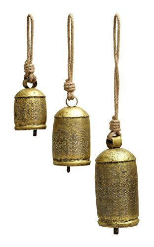 Deco 79 26718 3-Piece Metal Rope Animal Bell Set - 3 Piece Pedestal