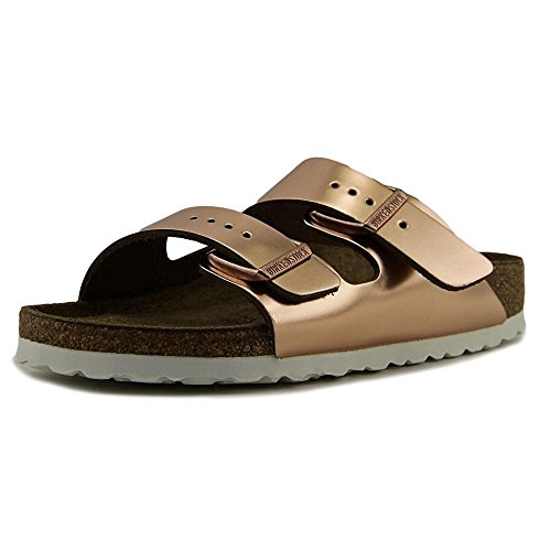 Birkenstock Women's Arizona Soft Footbed Sandal Copper Leather/White Sole Size 39 N - Silver Rose Large