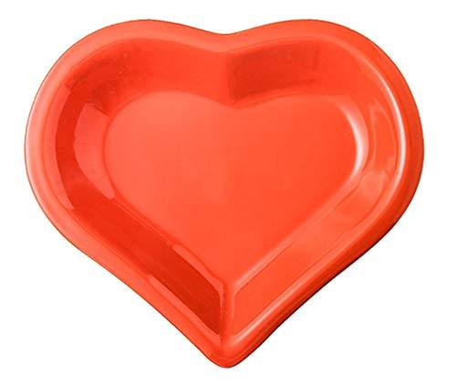Heart-shaped Ceramic Dinner Plate for Salad Snack Dessert Fruit Dish Deep Plate -