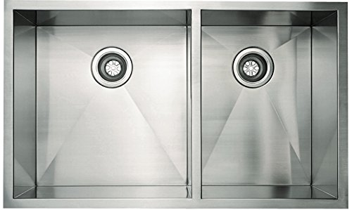 Belle Foret All-in-one Undermount Stainless Steel 33x18x10 0-Hole Double Bowl Kitchen Sink in - Sink Empire Stainless Steel Industries