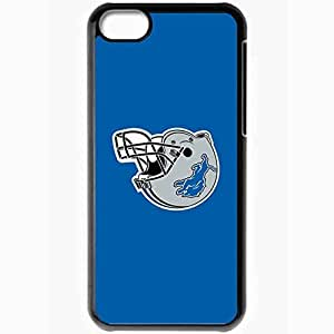 Personalized iPhone 5C Cell phone Case/Cover Skin Nfl Detroit Lions 6 Sport Black
